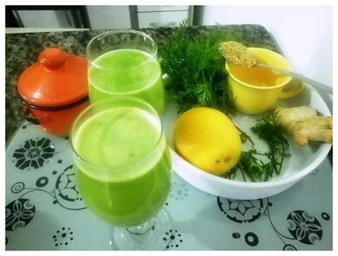 Suco de cenoura e espinafre